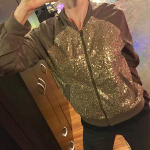 Jackets & Blazers - Sequin bomber jacket. Bronze. Fits S